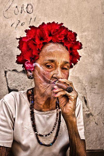 Cuban lady smoking cigars